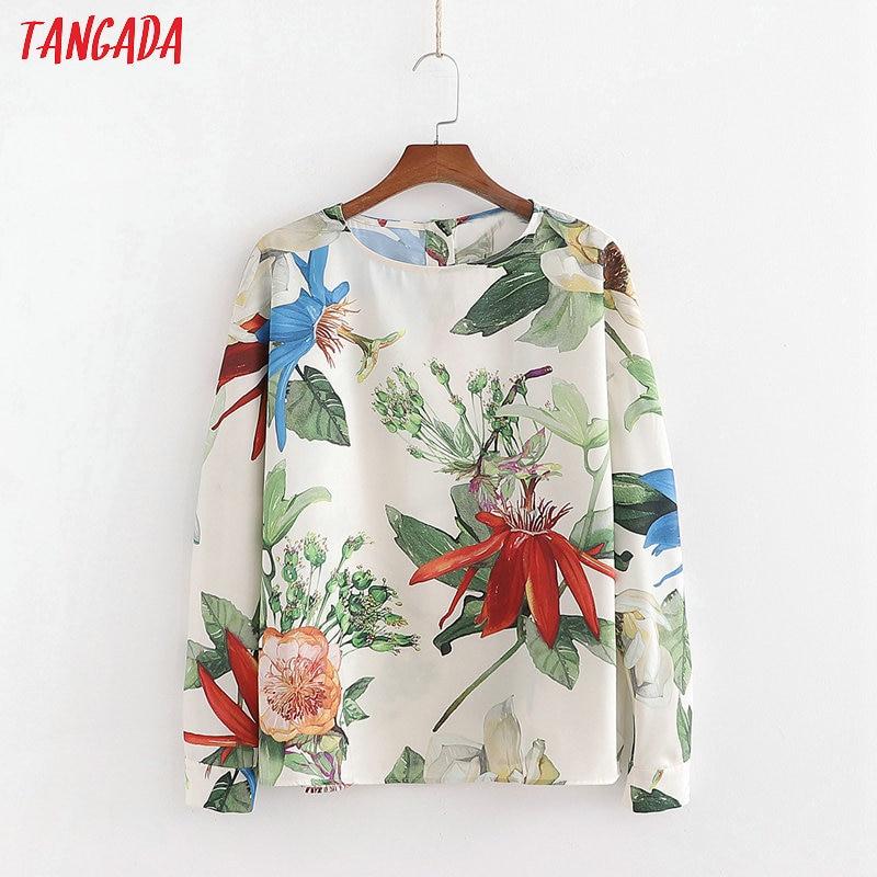 Tangada Women Retro Oversized Print Chiffon Blouse O Neck Chic Female Casual Loose Shirt Blusas 1D06