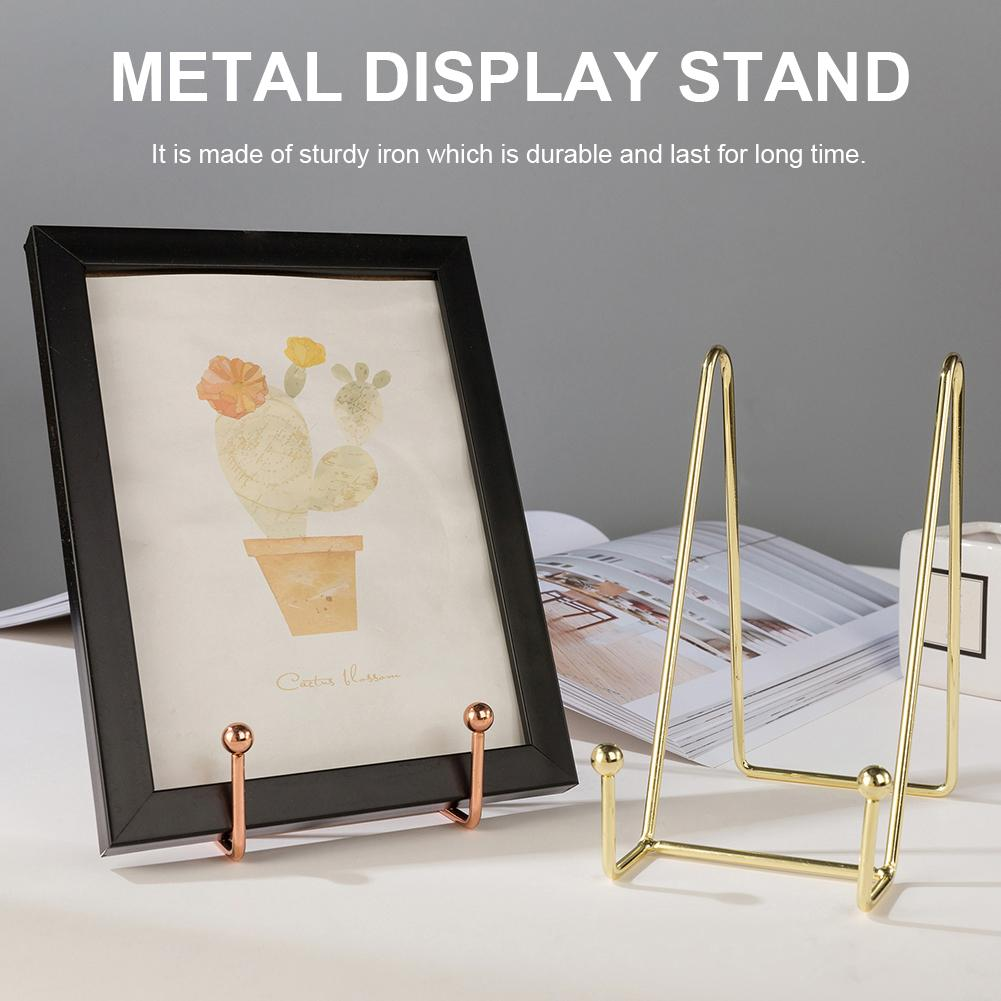 2pcs Display Stand Decorative Plate Holder For Artwork Photo Frame Plates Plaque Book Metal Plate Display Easel Home Decoration