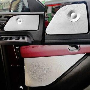 Image 1 - Lincoln Aviator 2020 2021 자동차 스타일링 스테인레스 스틸 자동차 도어 오디오 스피커 자동 트위터 장식 커버 트림 3D 스티커