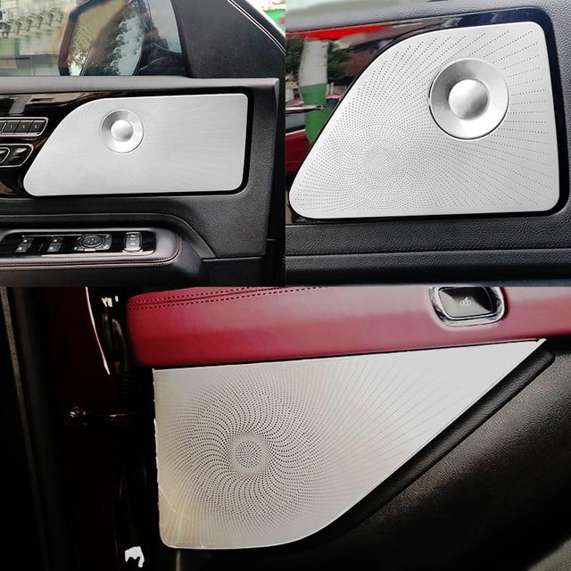 Lincoln Aviator 2020 2021 자동차 스타일링 스테인레스 스틸 자동차 도어 오디오 스피커 자동 트위터 장식 커버 트림 3D 스티커