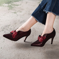 Point Toe Deep Mouth Bow Drilling Shoes Women High Heels Wedding Dress Shoes Woman Pump