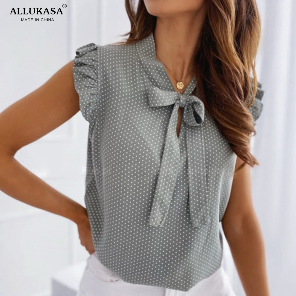 Short Sleeves Shirt Summer Bow Lace Up Polka Dot Female Ruffle Pullover Vintage Blusa Muyogrt   shirts Blouses  womens sexy tops
