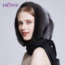 Enjoyالفراء 100% حقيقية فرو منك القبعات للنساء الشتاء وشاح قبعة أنيقة أنيقة سيدة قبعات دافئة جديد الفراء بيني