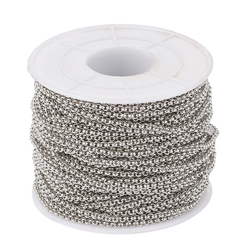 25m/roll 2/2.5/3mm Unwelded 304 Stainless Steel Cross Rolo Cable Chains With Spool For Jewelry Making DIY Bracelet Necklace