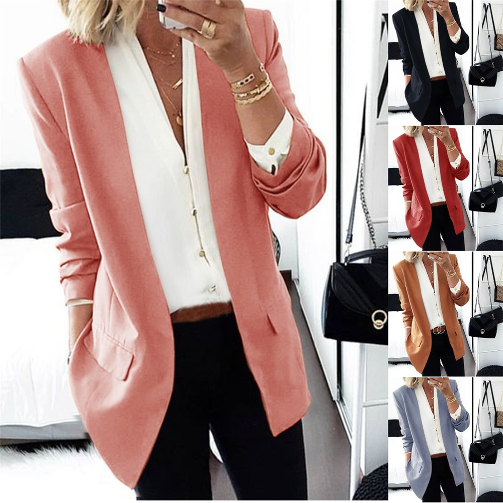 Hot Women Elegant Business OL Coat Cardigan Slim Suit Solid Color Long Sleeve Jackets CGU 88