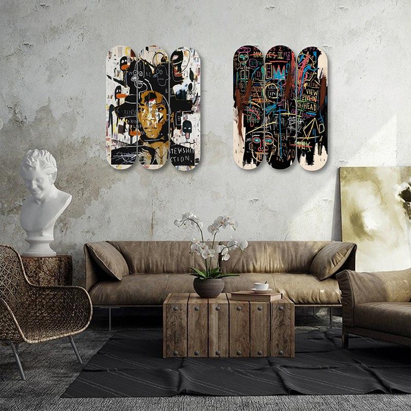 Graffiti Jean Michel Basquiat Wooden Boards Skateboard Wall Art Plates Room Ornament Wall Decor Pub Bar Man Cave Club Decoration