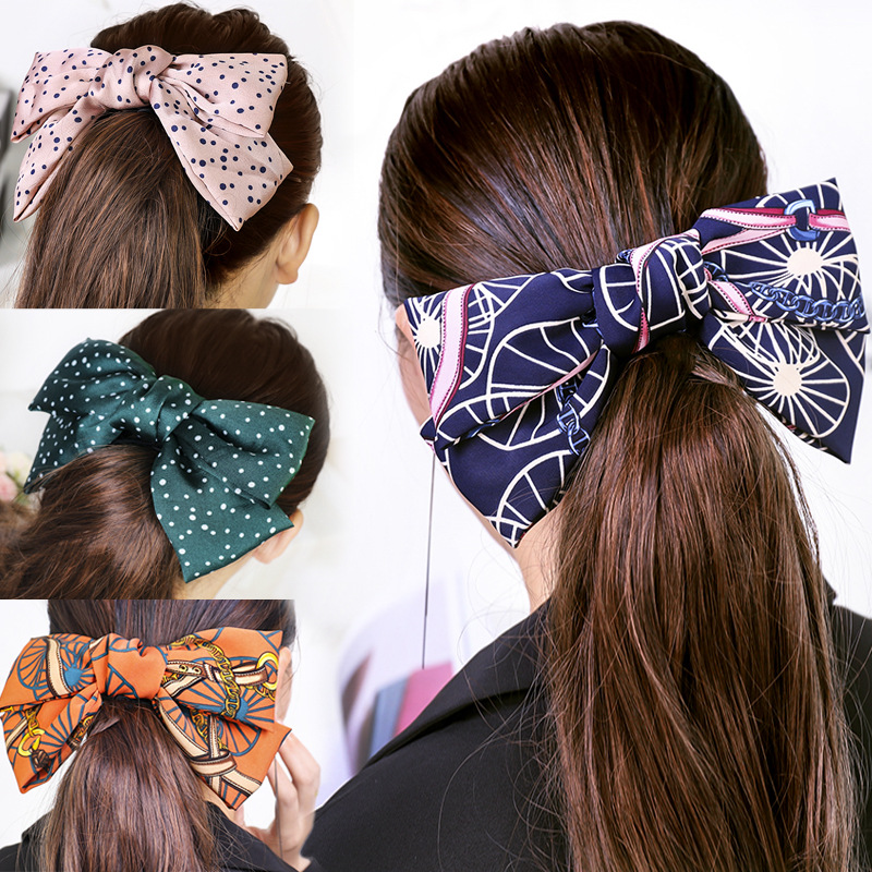 Vintage Colored Polka Satin Big Bow Barrette Ethnic Double layer Bow Hair pin Hair Accessories Head wear