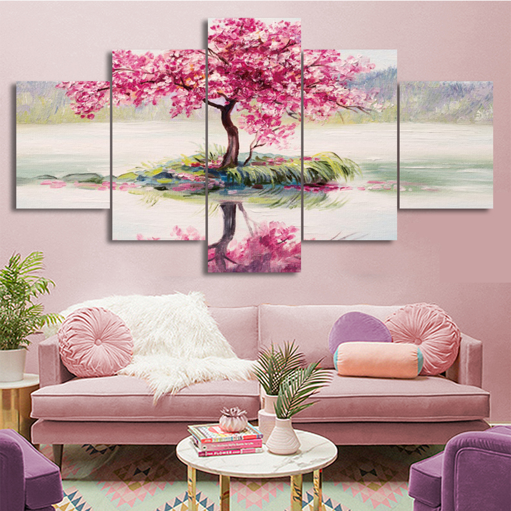 Laeacco Cherry Blossoms Tree 5 Pieces Scenery Canvas Prints Painting Home Decoration Wall Art Pictures For Living Room Bedroom