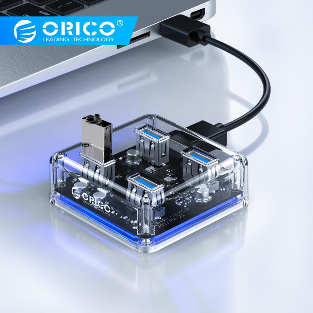 ORICO Transparent USB HUB 4 Ports USB3.0 Adapter Splitter Support External Micro USB Power Supply For Desktop Laptop Accessories