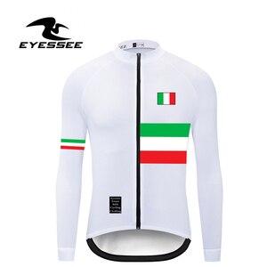 Image 5 - Italien radfahren jersey EYESSEE Männer fit leichte stoff Langarm Radfahren Trikots 5 farben Rennrad MTB rennen fahrrad kleidung