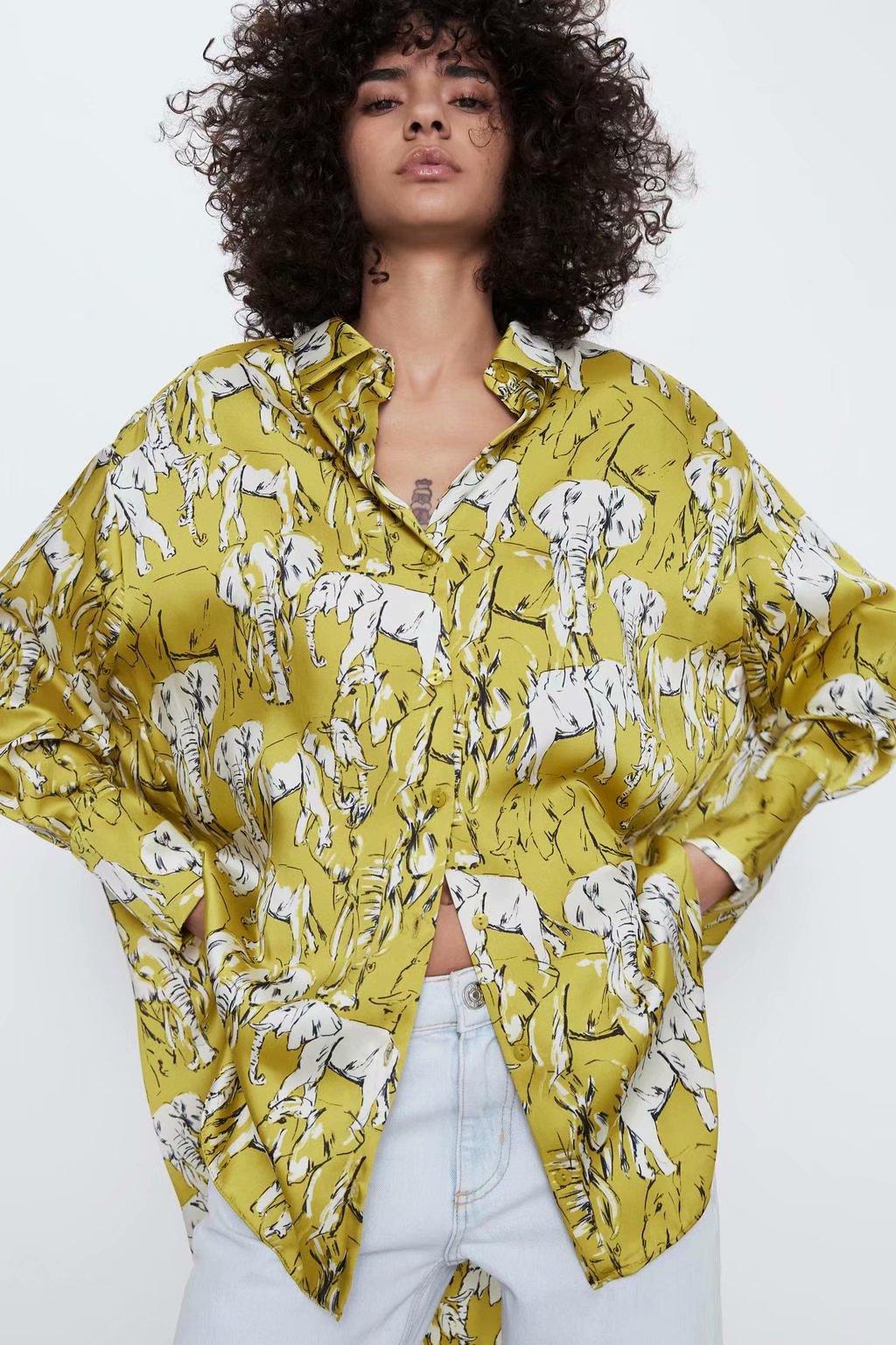 2020 New Spring Summer European Elephant Print Female Shirt Zaraing Vadiming Sheining Women's Yellow Printings Shirt XDN9427