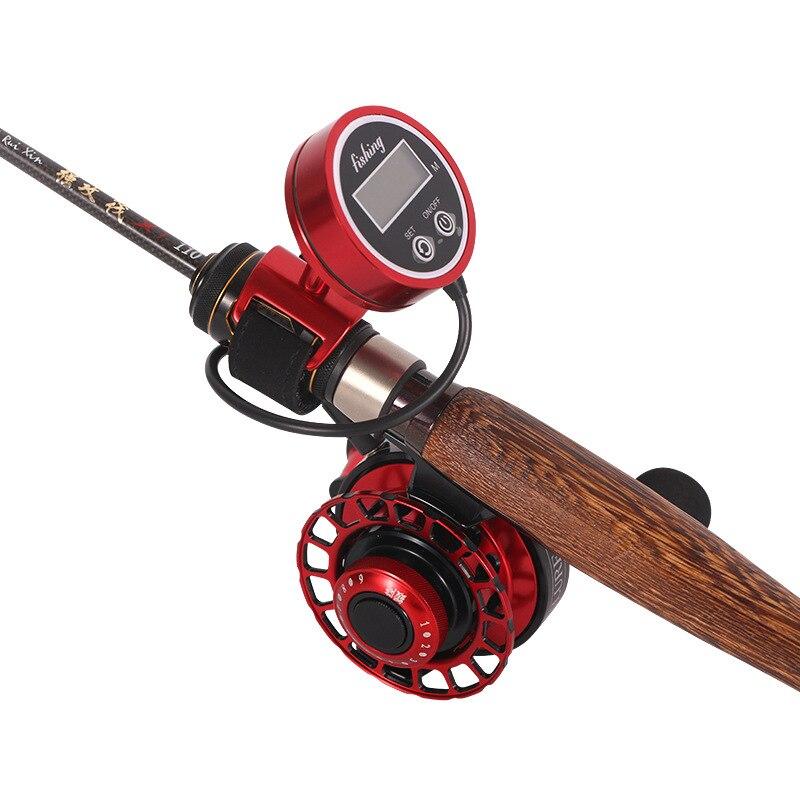 display digital um botao de redefinicao forca magnetica retardar o metal cheio jangada carretel pesca equipamento
