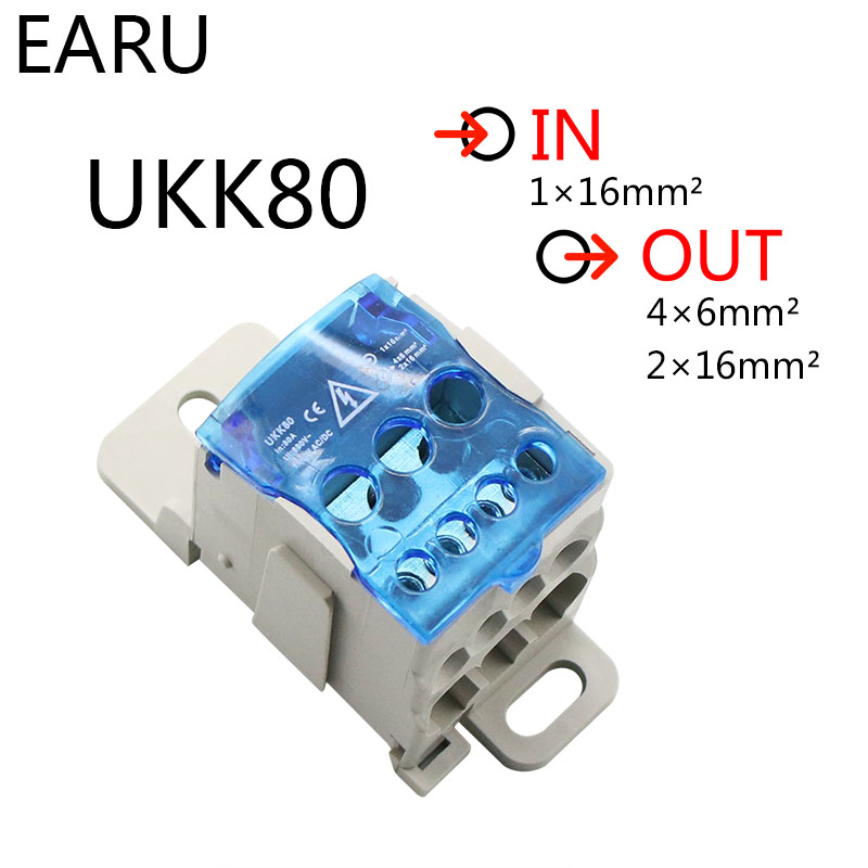 UKK-80A Distribution Box Din Rail Terminal Block 1 In Many Out Power Junction Box 80A Universal Electric Wire Connector Heavy