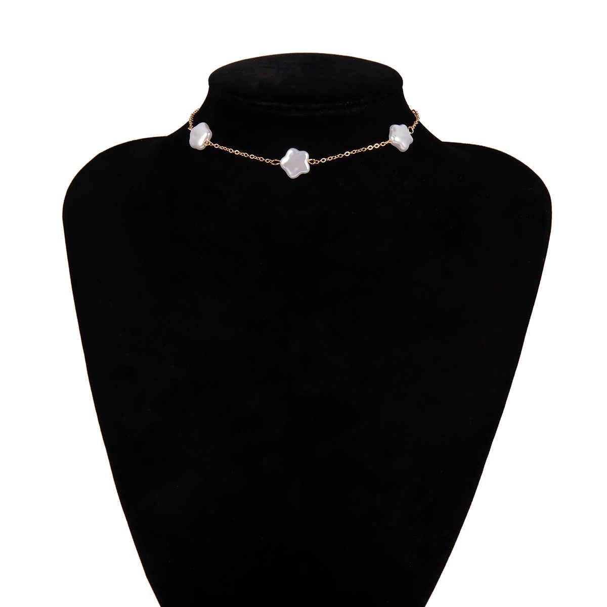 Gothic Baroque Pearl Star Choker สร้อยคองานแต่งงานแฟชั่นเครื่องประดับเกาหลีที่ไม่ซ้ำกันลูกปัดสร้อยคอสร้อยคอผู้หญิงที่ดีที่สุดของขวัญ