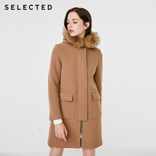 SELECTED 50% Wool Detachable Raccoon Fur Collar Mid-length Lady Coat S|418427518(China)