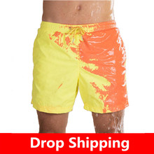 Beach Short Change Color Beach Pant for Boy Quick Dry High Temperature Discoloration Running Gym Summer Swimming Shorts(China)