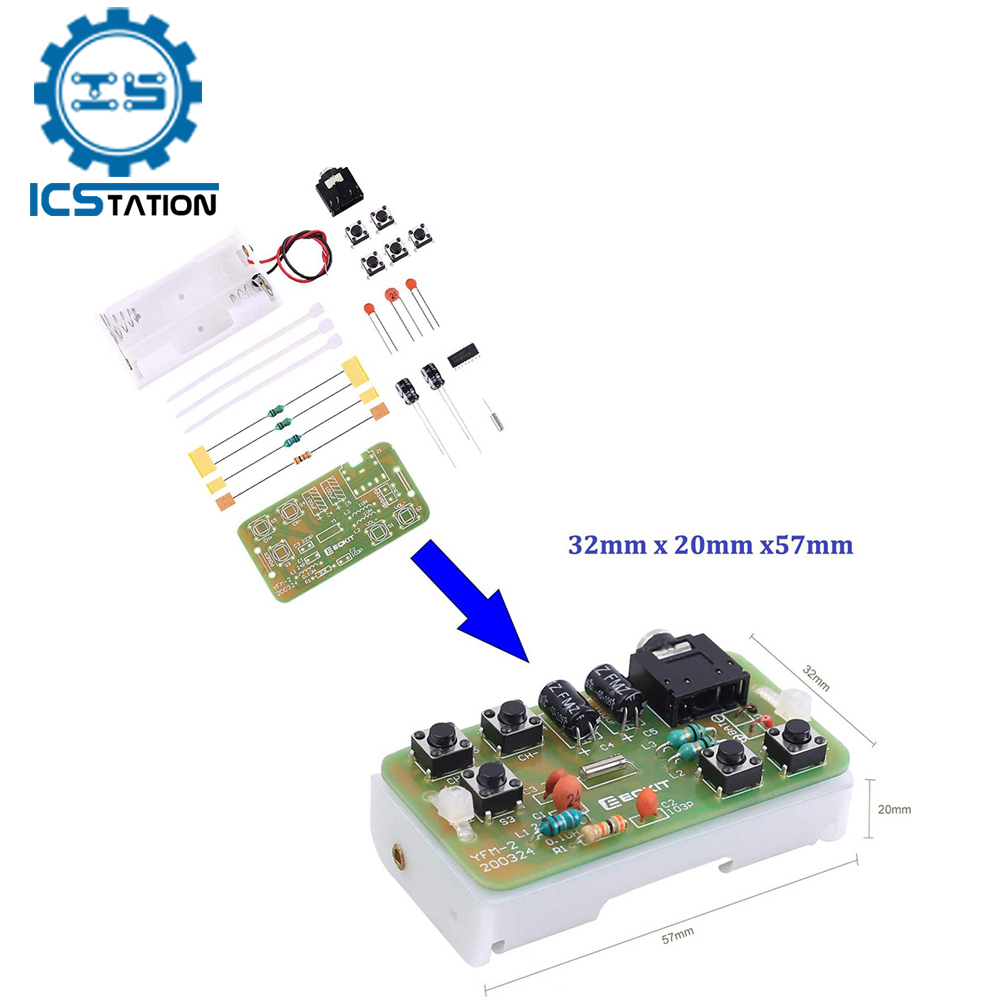 76-108MHz FM Stereo Radio DIY Kit Wireless FM Receiver Module Frequency Modulation Electronics Soldering Practice Project