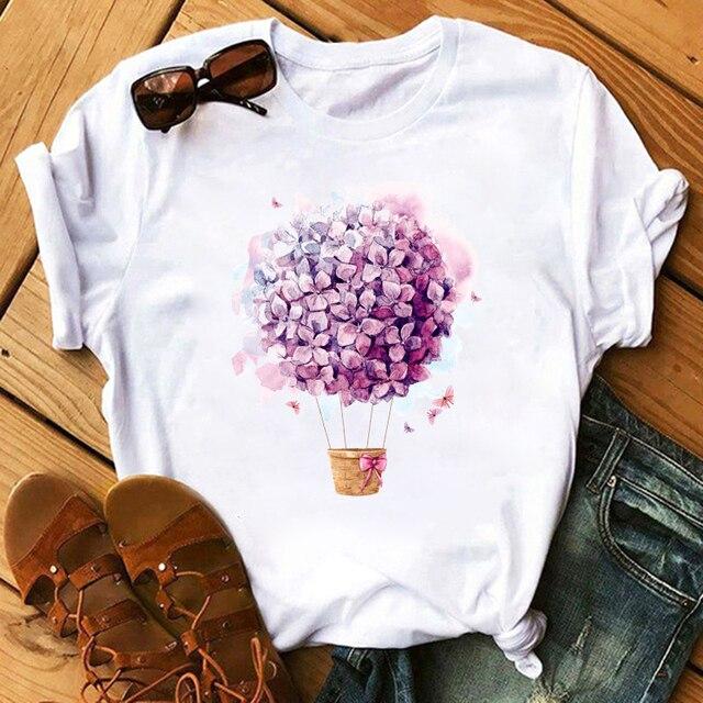 Harajuku T-shirts Top Floral Flower Fashion Lady Women's T-shirt Short Sleeve T Shirt Ladies Womens Graphic Female Tee T-Shirts 1