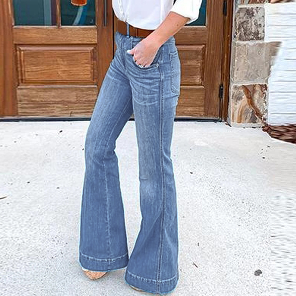 WENYUJH Women's Fashion Slim Show Thin Casual Jeans Flared Trousers Long Pants Ladies High Waist Casual Trousers Wide Leg Pants