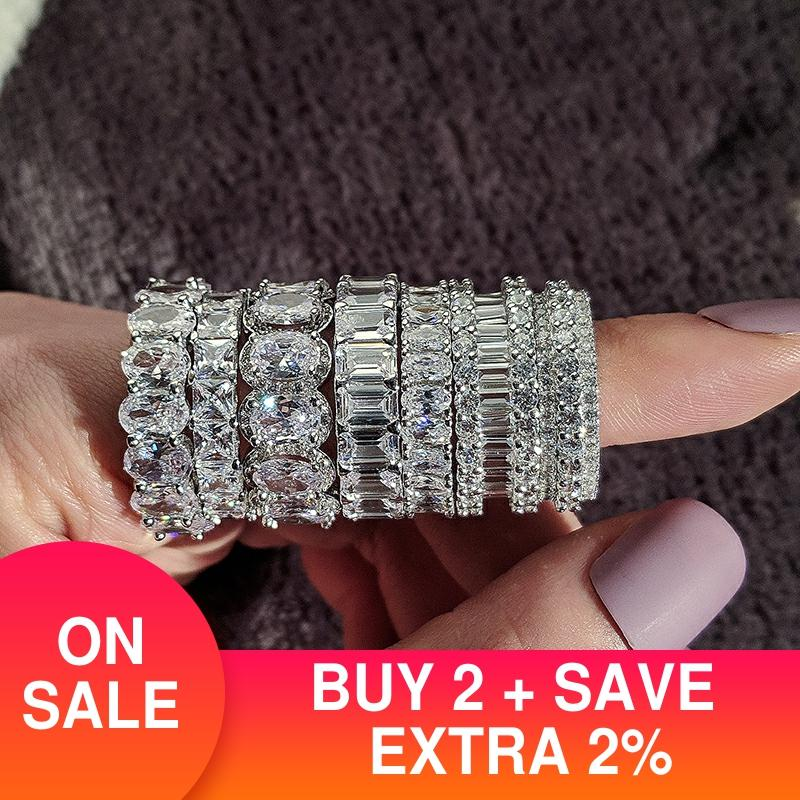 Eternity-Ring Jewelry Wedding-Band Gift Bulk 925-Sterling-Silver Lots Wholesale Women