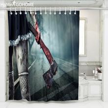Bloody Axe Halloween Shower Curtain 3D Print Stockings Girl Bathroom Shower Curtains Waterproof Fabric Bath Curtain Duschvorhang halloween cat print waterproof shower curtain