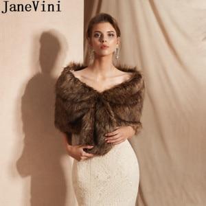 Image 1 - JaneVini Winter Fur Bridal Shawl Party Bolero Wedding Dress Evening Women Capes Shoulder Cover Stoles Adult Faux Fur Wraps 2019