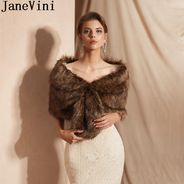JaneVini Winter Fur Bridal Shawl Party Bolero Wedding Dress Evening Women Capes Shoulder Cover Stoles Adult Faux Fur Wraps 2019