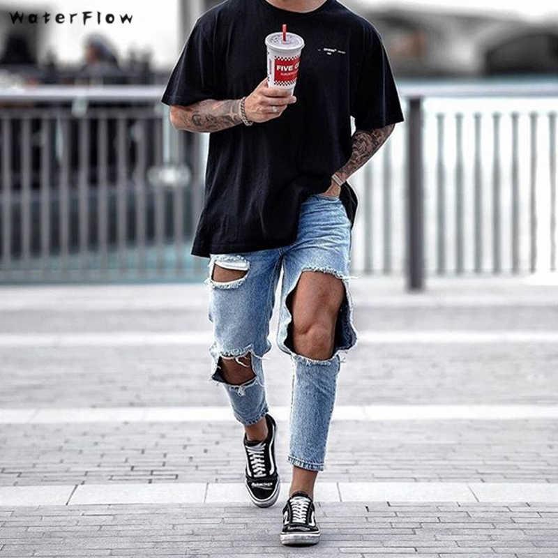 2019 New Skinny Jeans Punk Pants Homme Hip Hop Jeans Male
