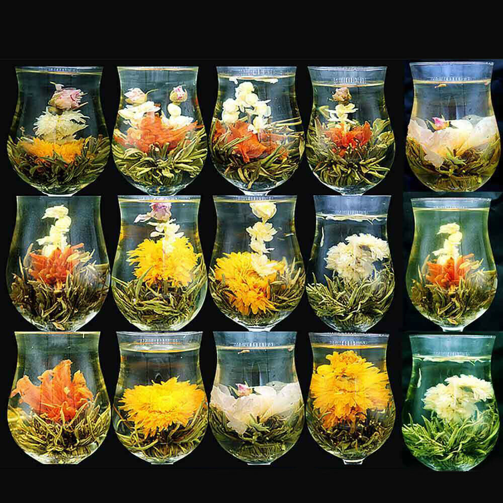 16 Pieces 16 Kinds Chinese Blooming Flower Tea Green Tea Ball Artistic Blossom Flowers Tea China Blooming Tea Green Organ