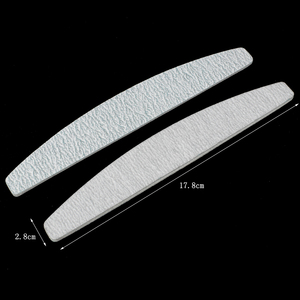 Image 4 - 100pcs/lot Gray Nail File 100/180 Half Moon Grey Curved Nail Buffer Blocks Gel Polish Manicure Tools For Nail Care Suppliers