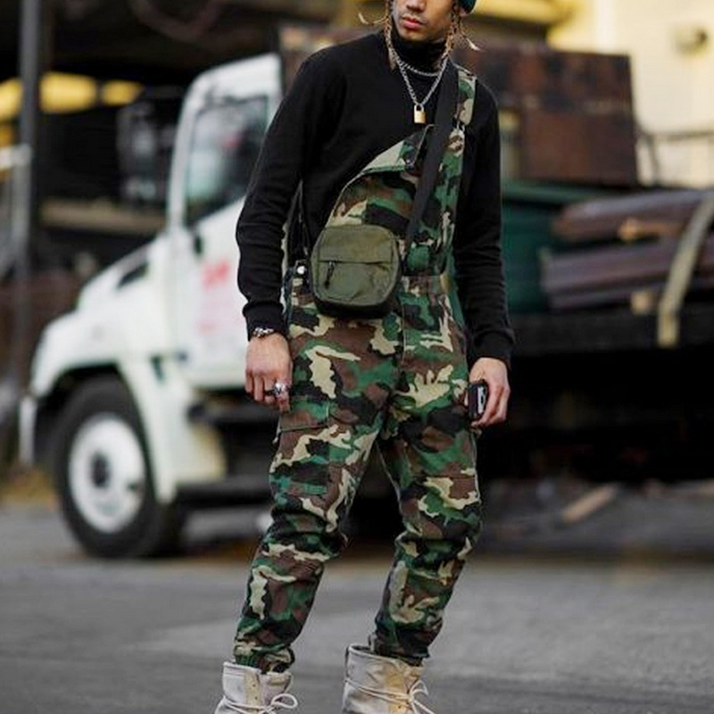 Men One Shoulder Fashion Jeans Jumpsuit Casual Camouflage Print Jeans Jumpsuits Overalls Military Tracksuit Camo Suspender Pant