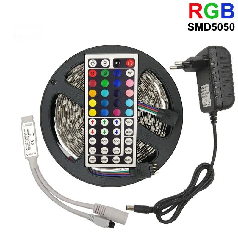 5050 RGB LED Strip Light 12V RGB Set Waterproof Color Led Strip Remote Controll Flexible Light Ribbon Tape Soft Led Light Bar