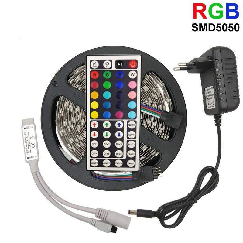 LED 5050 RGB Strip Light SMD 2835 waterproof RGB Led Tape 5M Remote Controll flexible ribbon color led light soft light bar