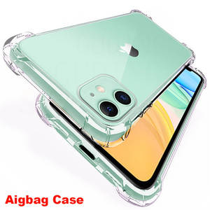 Transparent Shockproof Case For iPhone 11 Pro X Xr Xs Max Soft Silicone Airbag Case 6 6s 7 8 Plus 5 5S SE 2020 12 4 Back Cover