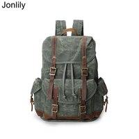 Jonlily Unisex Vintage Canvas Backpack Casual Oil Wax Waterproof Fabric Daypack High Capacity Laptop Bag Teen School Pack KG381