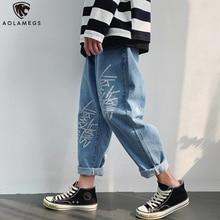 Aolamegs джинсы мужчины письмо печать джинсовые брюки свободного покроя все-Матч гарем хип-хоп свободные летние мода уличная