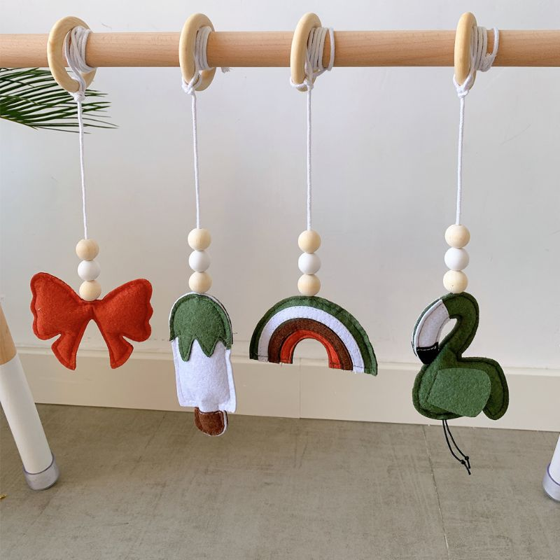 4Pcs/set Solid Wood Fitness Rack Pendant Baby Bed Strollers Hanging Toys Children Room Decoration Baby Gym Toy Hanging Ornaments