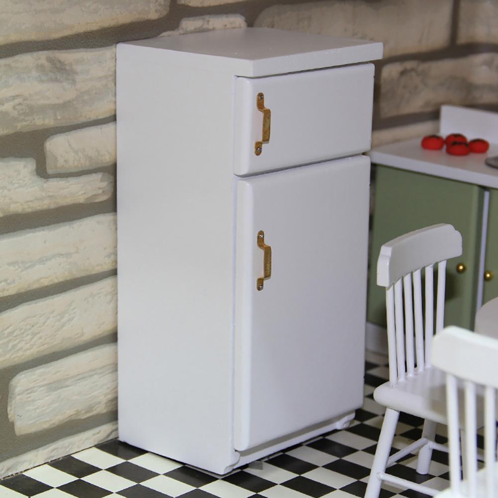 1/12 Scale Wooden Mini Fridge Refrigerator Doll House Furniture Accessories Decor Kids Toy Mini Refrigerator Toy