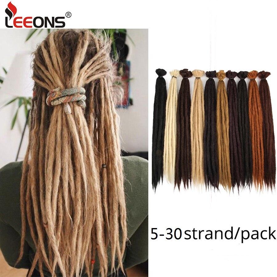 Leeons extensões de cabelo, feitas à mão, dreadlocks, crochê, cabelo sintético, preto, marrom, 1 fio para mulheres e homens, 20 Polegada