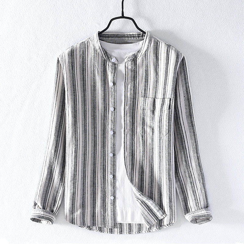 2019 Casual Striped Long-sleeved Linen Shirt Men Autumn New Cotton Shirts For Men Fashion Comfortable Shirt Male Camisa Chemise