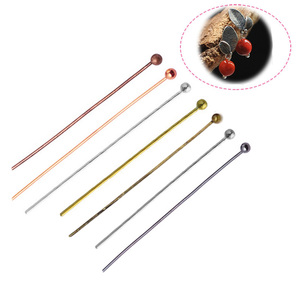 200Pcs 20-50mm Copper Ball Pins Gold/Silver//Rhodium/Bronze Head Ball Pins Handmade For Jewelry Findings Making DIY Ball Needles(China)
