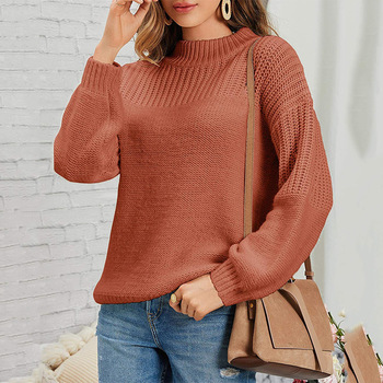 Round neck long-sleeved pullover 2020 new sweater autumn and winter solid color knit sweater women's sweater women color block mixed knit pullover sweater