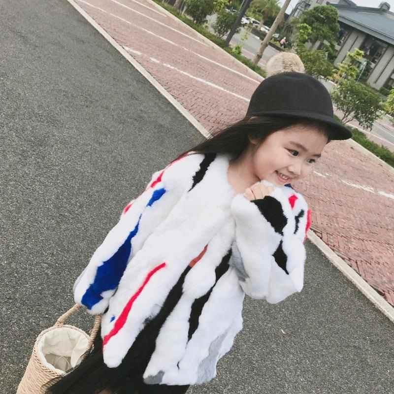2019 Kış Yeni Moda Çocuk Kız Gerçek Mix Renk Tavşan Kürk Ceket Çocuk Kız Doğal Kürk Palto Bebek Kalın Sıcak dış giyim W210