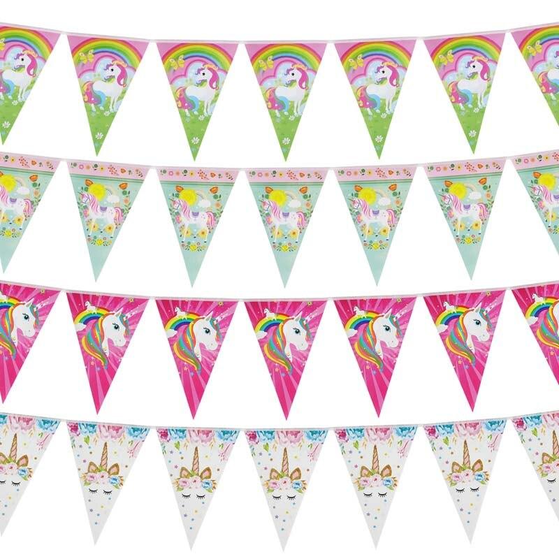 Радуга Единорог вечерние Бумага баннер девочки; дети 1st на день рождения висит флаги с рисунком «маленькая русалочка» гирлянды Baby Shower Сваде...