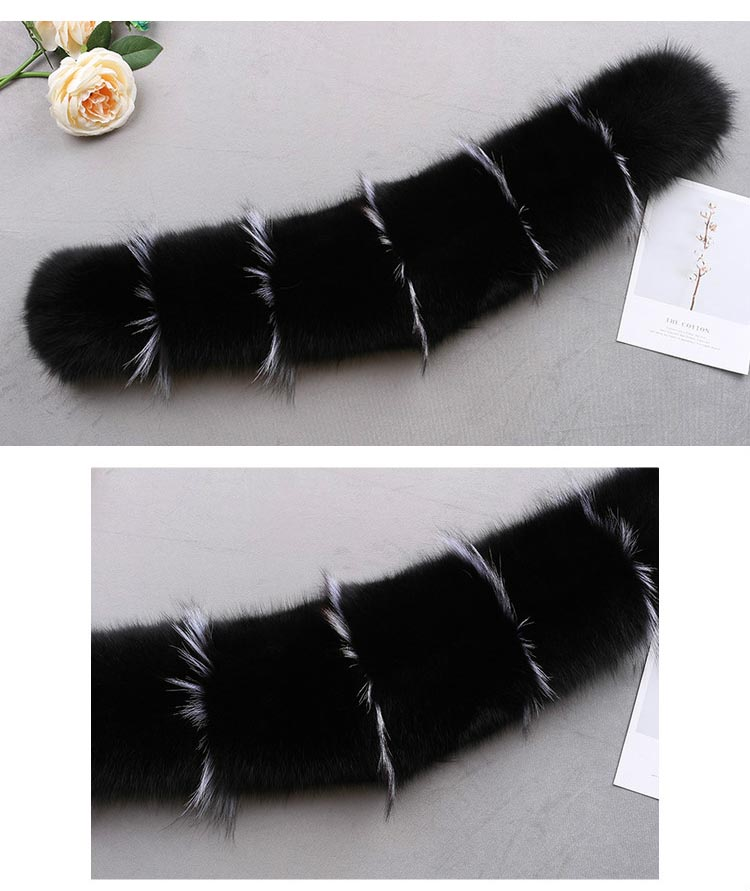 MS.Minshu Fox Fur Collar Parka Coat Collar Genuine Fox Fur Big Collar Fluffy Fox Fur Hood Collar - Цвет: black grey strips