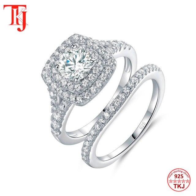 TKJ JEWELRY Fashion Set Rings With Big White Shiny Cubic Zircon 925 Silver 6.0mm 2pcs Wedding Ring Set for Women Gift