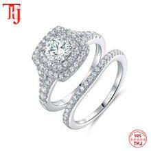 TKJ Juego de joyería a la moda para mujer, anillos con gran Circonia cúbica blanca brillante 925 Plata 6,0mm, 2 uds., conjunto de anillos de boda para mujer, regalo