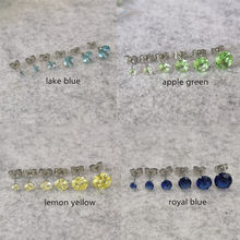 Apple Green Lemon Yellow Royal Blue Stainless Steel Stud Earrings With AAA Zircons Glass Classical Style No Fade Allergy Free(China)
