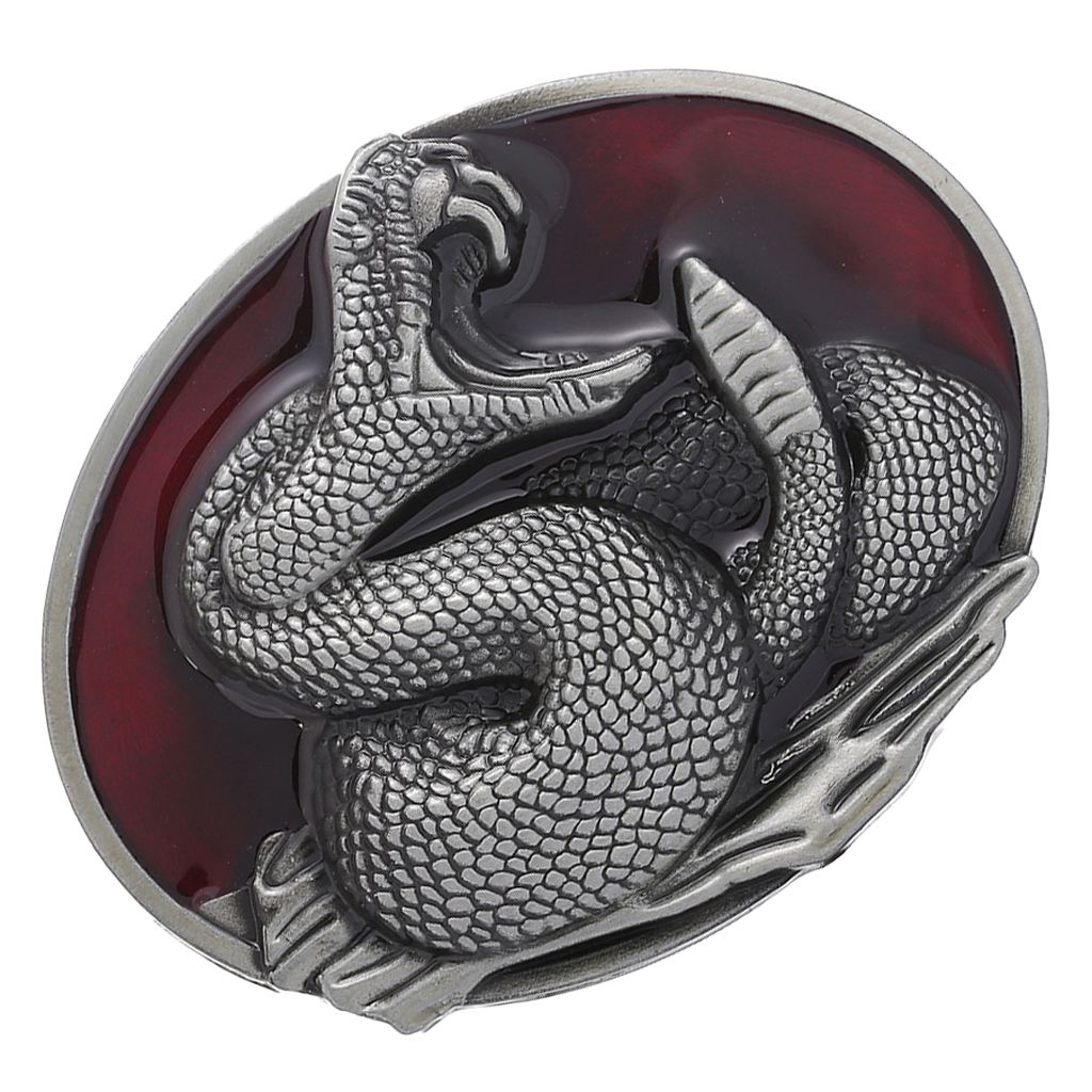 Western Snake Belt Buckle - Cowboy Rodeo Accessories - Antique Silver