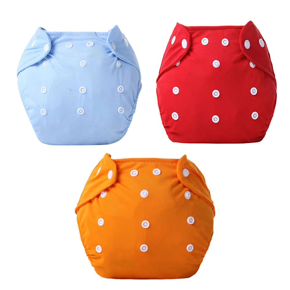 3pcs Cloth Diaper With Adjustable Snap Reusable Washable Breathable Baby Diaper Pants NSV775